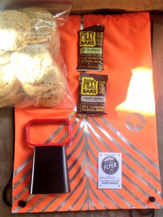 My track meet essentials: cowbell, cookies, Picky Bars, Flyer Club Fan Card.